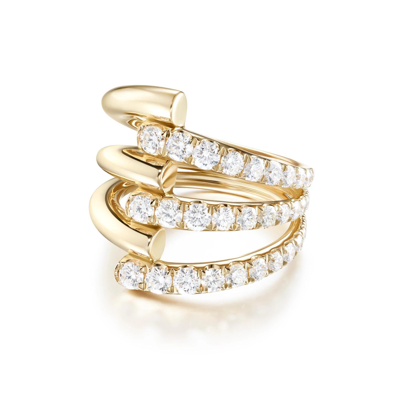 Melissa Kaye Lola Triple 18k黄金镶钻戒指