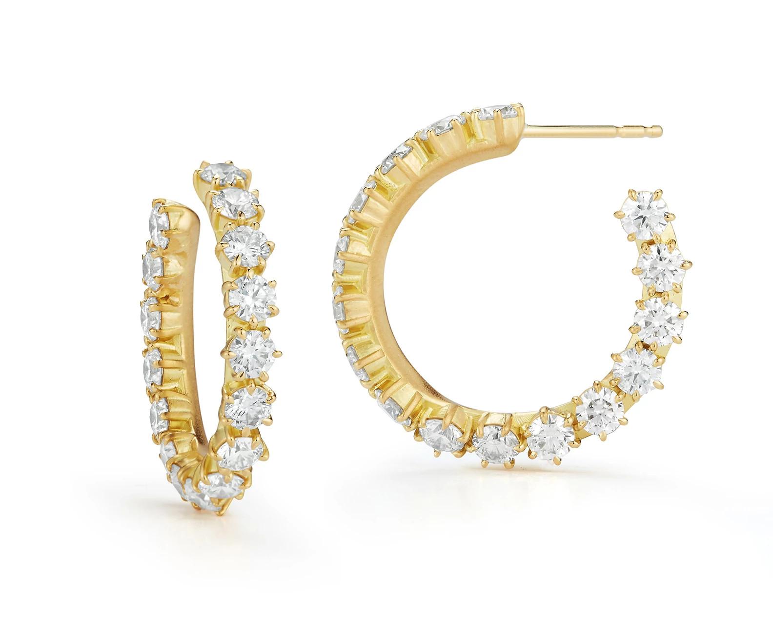 Jade Trau Catherine系列18K金镶天然钻石耳环