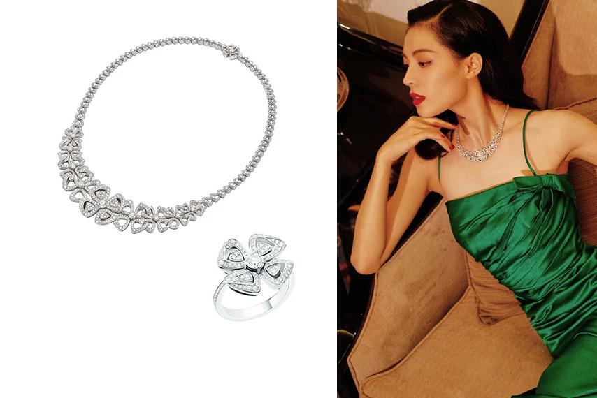 钟楚曦佩戴宝格丽Fiorever系列天然钻石项链、戒指
