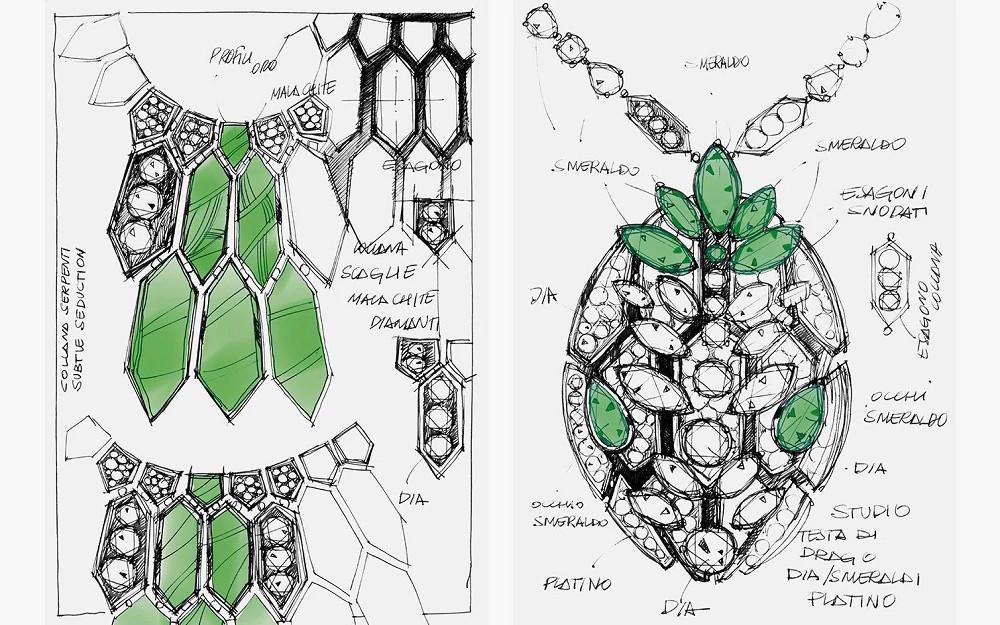 蛇形珠宝系列设计手稿