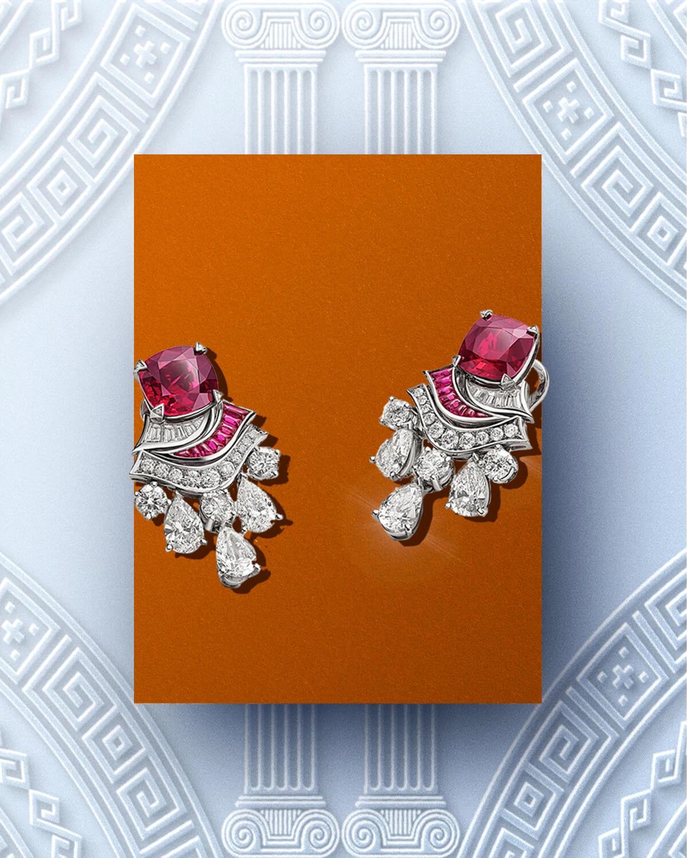红宝石配以天然钻石耳环