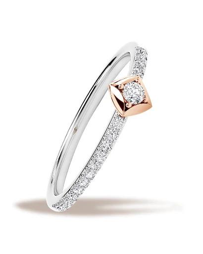 Forevermark永恒印记 Icon星空系列™ 18K白金及18K玫瑰金镶嵌美钻戒指
