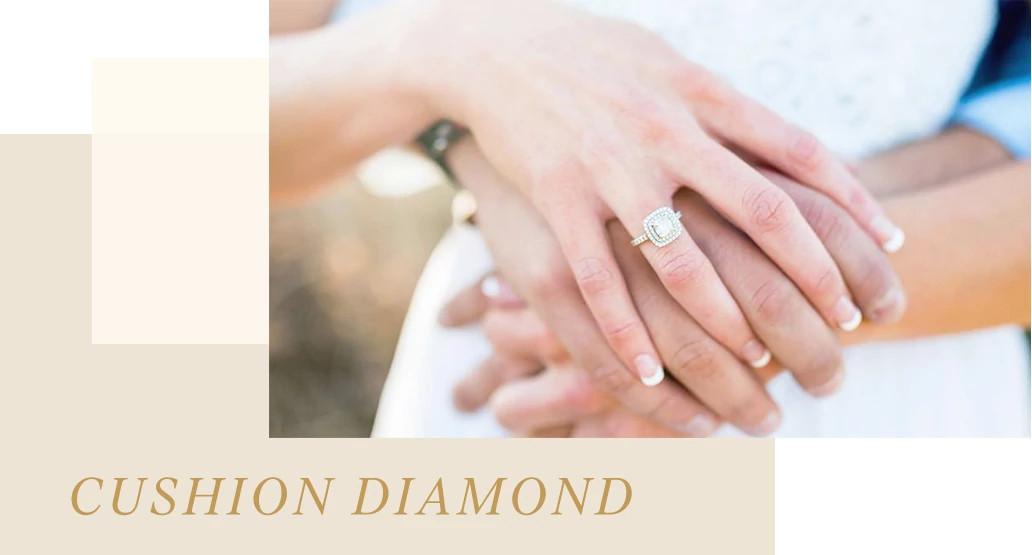 枕型天然钻石戒指