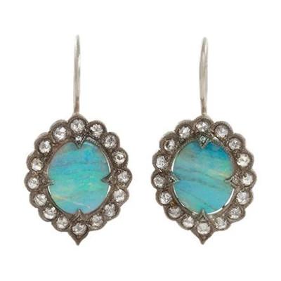 高级珠宝品牌Cathy Waterman镶嵌着玫瑰花形切割天然钻石的铁矿石欧泊花边耳环