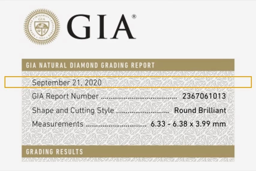GIA天然钻石证书日期