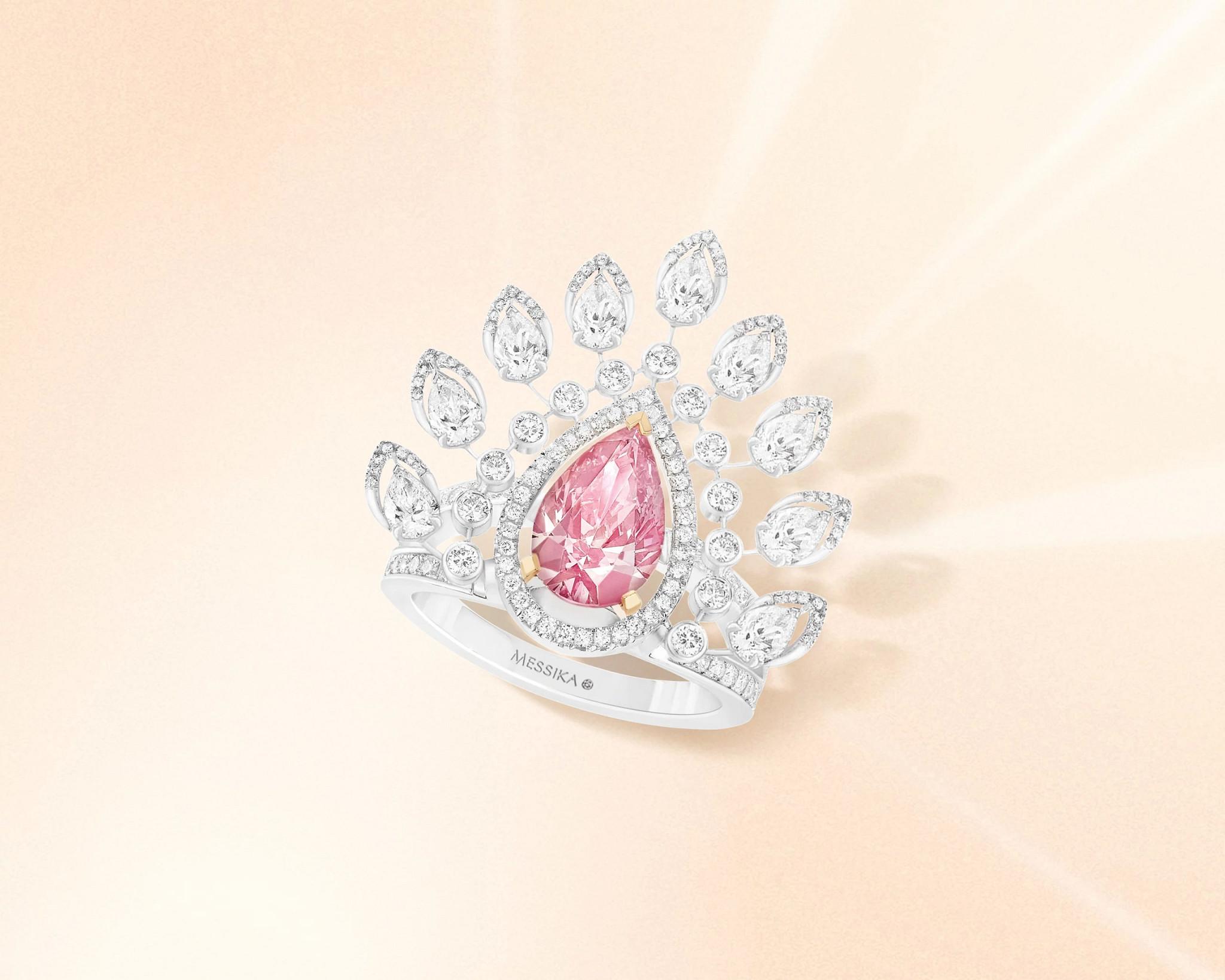 沙漠开花天然钻石戒指