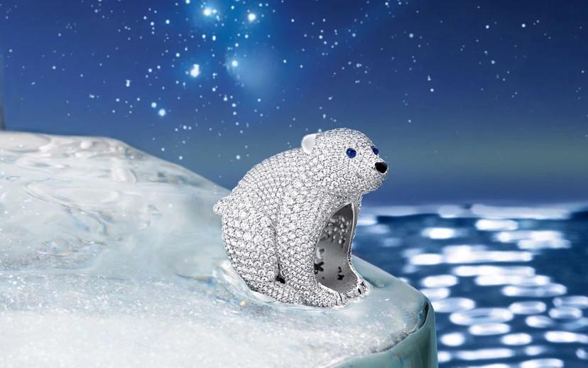 北极熊主题天然钻石珠宝
