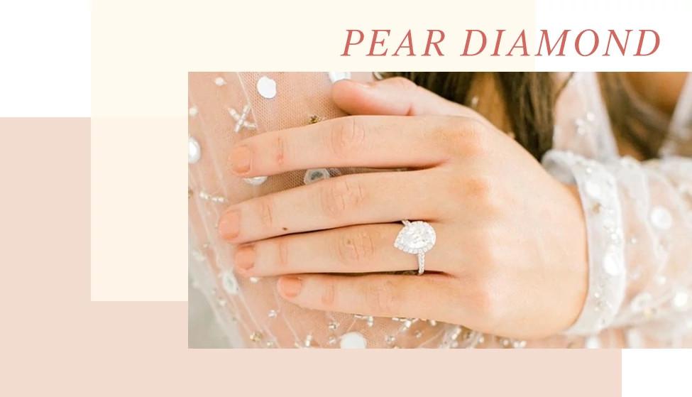 梨形天然钻石戒指
