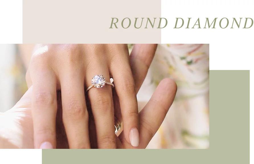 圆形天然钻石戒指